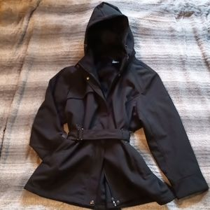 Plus size water resistant hooded lined jacket